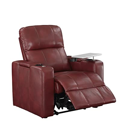 Pulaski Power Home Theatre Recliner, USB Port, Tray, Blanche Cardinal Red