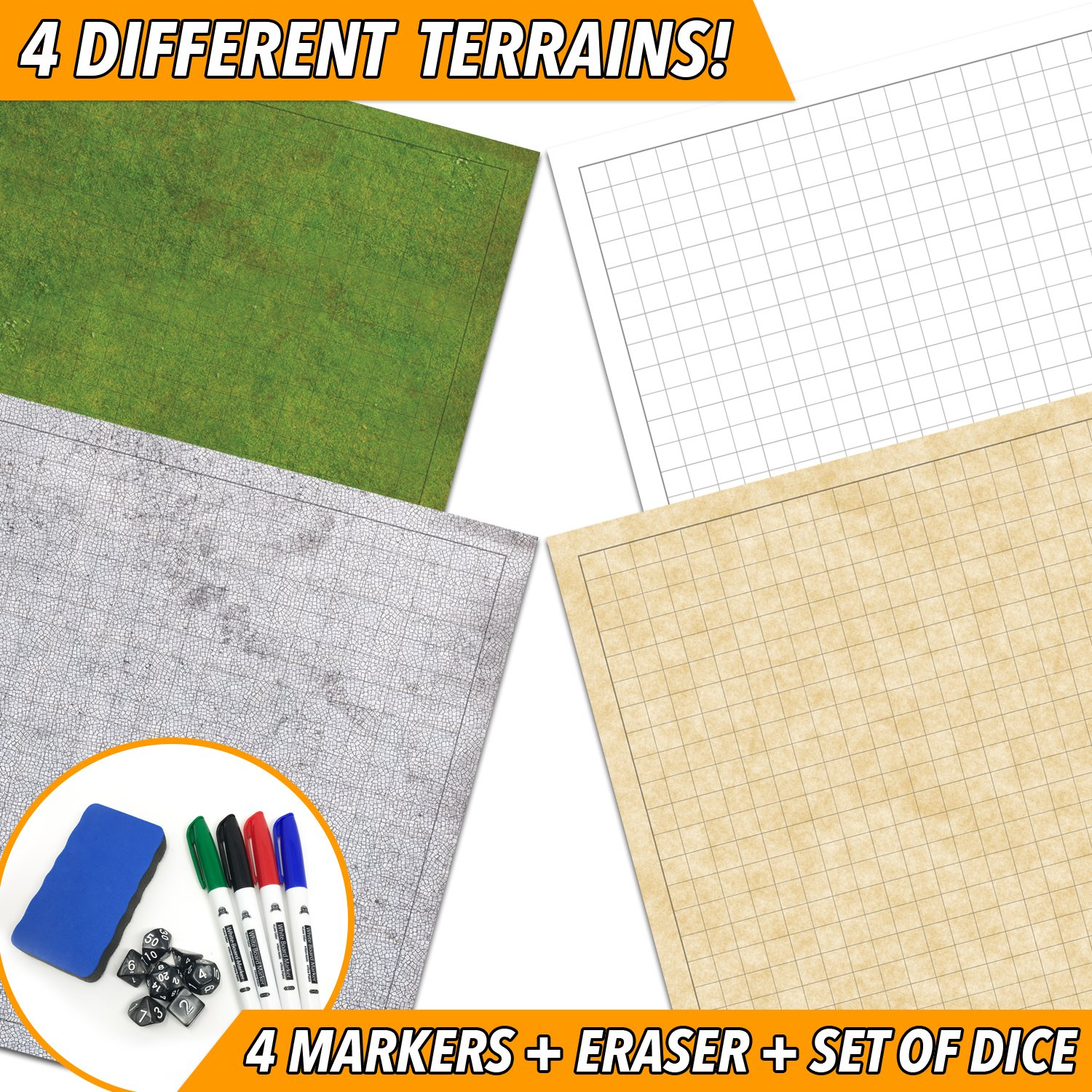 RPG Battle Game Mat - 2 Pack Dry Erase Double sided 36'' x 24'' (4 Terrains) + 4 Dry Erase Markers + 1 Eraser + 7pc Polyhedral Dice Set - Large Table Top Role Playing Map for Starters and Masters