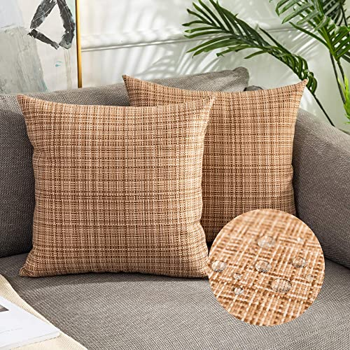 Kevin Textile Pack of 2 Decorative Outdoor Waterproof Pillow Covers Square Garden Cushion Sham Throw Pillowcase Shell