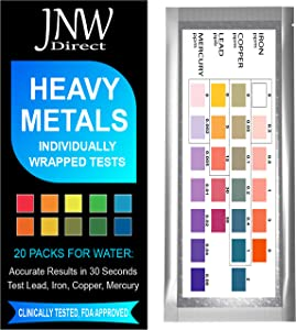 Heavy Metals Test - Drinking Water Testing Kit for Lead, Iron, Copper and Mercury, Fast Easy & Accurate Results With Mobile App, Simple at Home Testing to EPA Standards (Individually Wrapped 20 Packs)