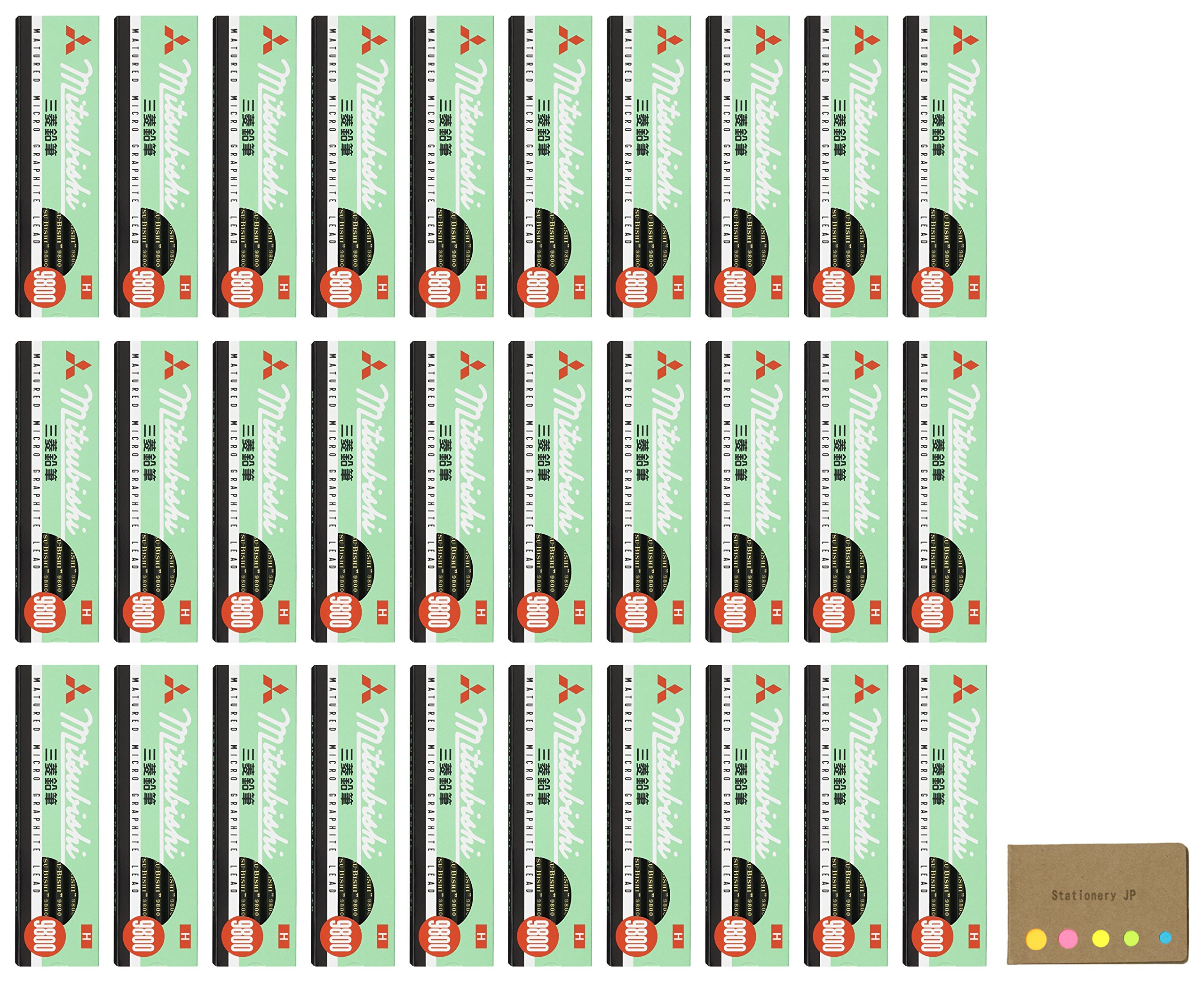 Uni Mitsubishi 9800 Pencil, H, 30-pack/total 360 pcs, Sticky Notes Value Set by Stationery JP (Image #1)