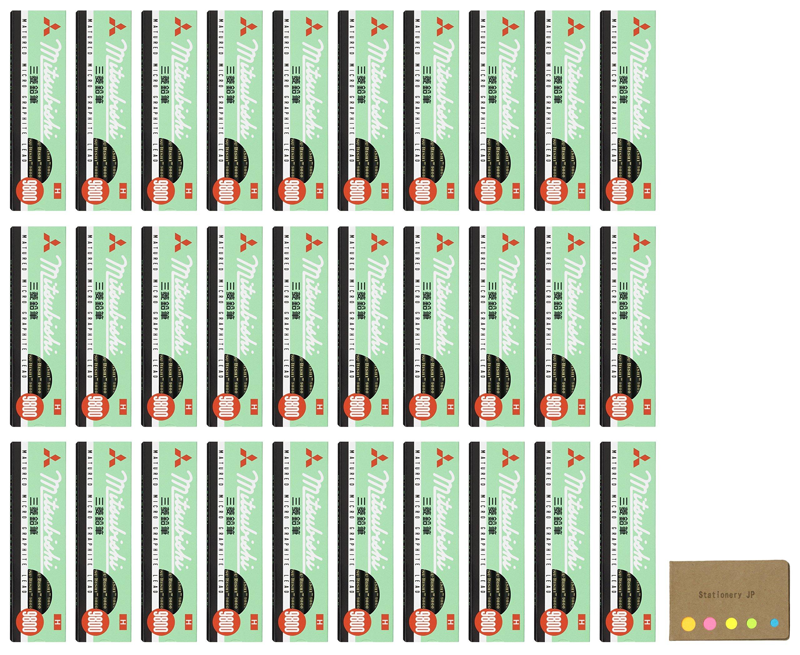 Uni Mitsubishi 9800 Pencil, H, 30-pack/total 360 pcs, Sticky Notes Value Set