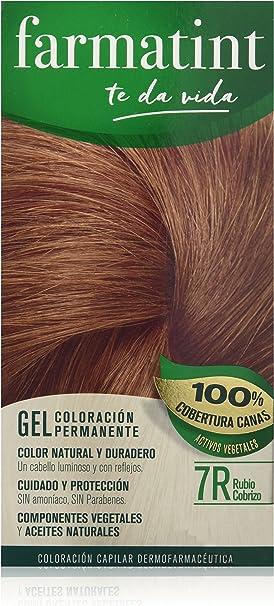 Farmatint Gel 7R Rubio Cobrizo | Color natural y duradero | Componentes vegetales y aceites naturales | Sin amoníaco | Sin parabenos | ...