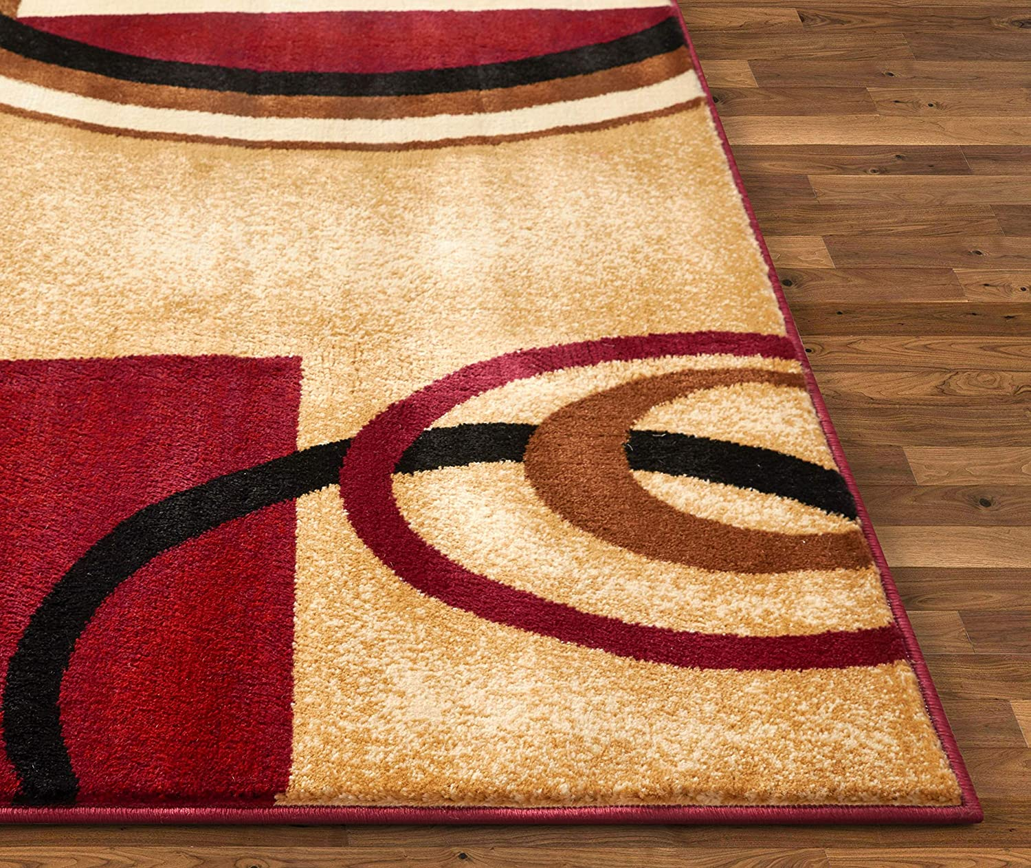Well Woven Deco Rings Red Geometric Modern Casual 4 Round 67x120 Cm Area Rug Easy To Clean Stain Fade Resistant Shed Free Abstract Contemporary Colour Block Boxes Lines Soft Living Dining Room Rug