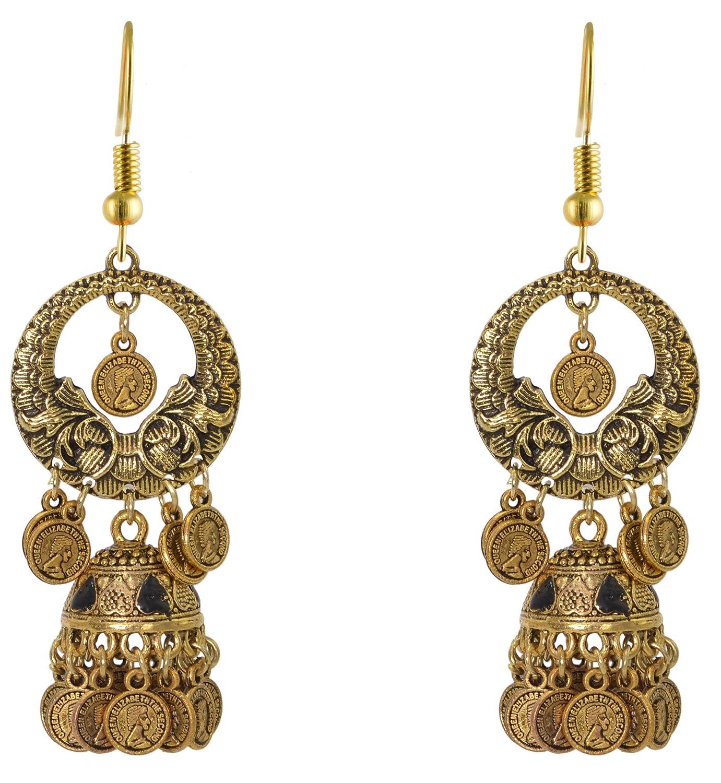 Sansar India Oxidized Chandbali Long Jhumka Jhumki Indian Earrings Jewelry for Girls and Women