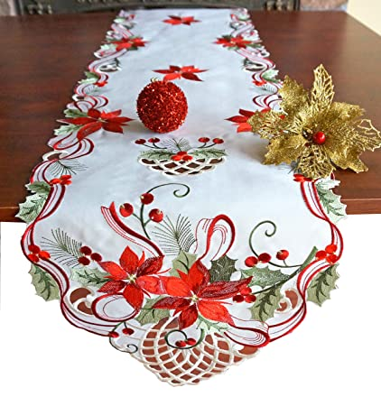"GRANDDECO Holiday Christmas Table Runner, Cutwork Embroidered Floral Christmas Flower Dresser Scarf Table Topper for Home Dining Xmas Table Top Decoration,Runner 13""x68"" best Christmas table runners"