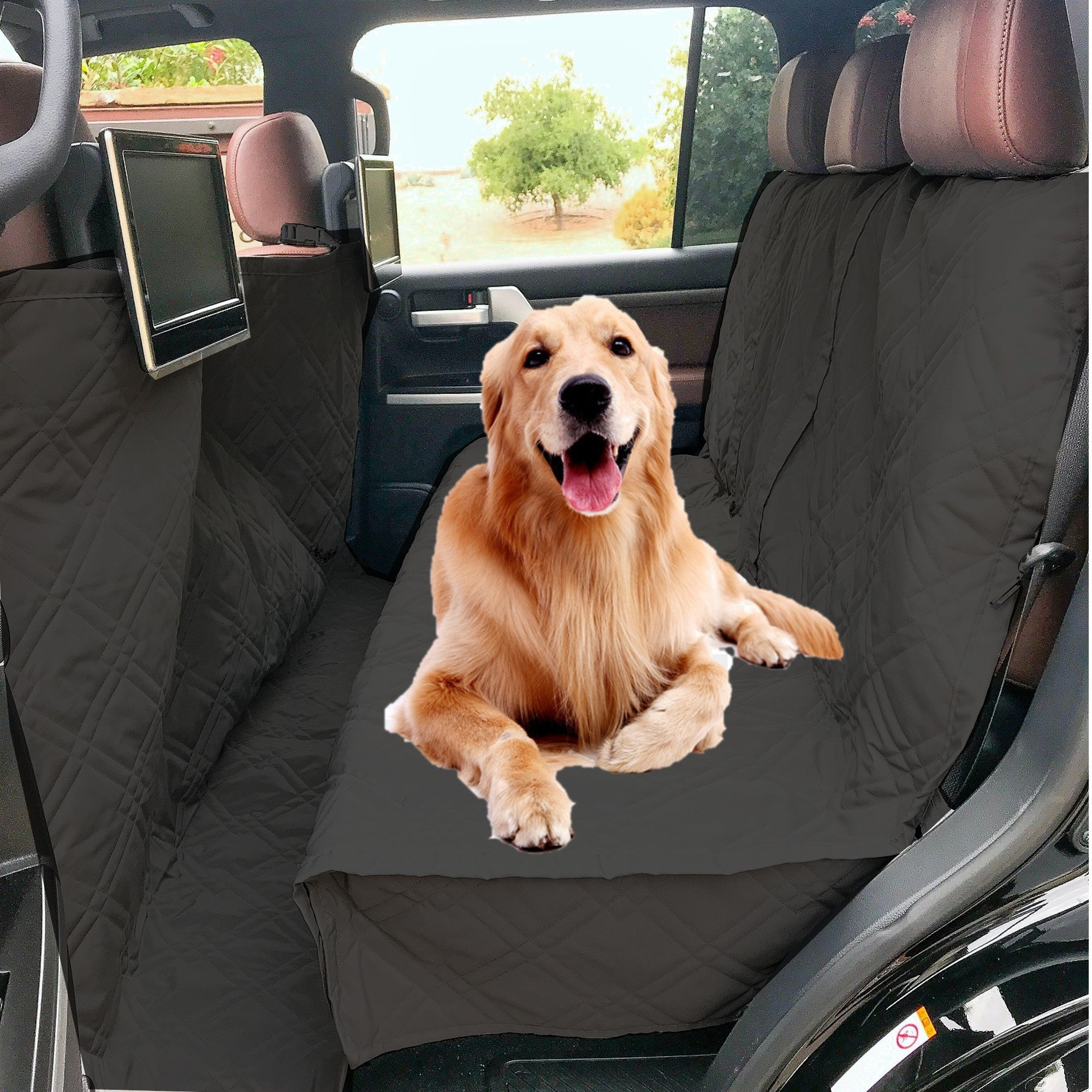 Formosa Covers Deluxe Quilted and Padded Dog Car Back Seat Cover with Non-Slip Back Best for Car Truck and SUV - Travel With Your Pet Mess Free - Universal Fit 56''x94'', Black