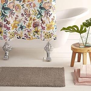 """Home Dynamix Nicole Miller Newton Reversible Cut & Loop Pebbles 2-Piece Cotton Bath Mat Set, 17""""x24""""/21""""x34"""" Gray"""