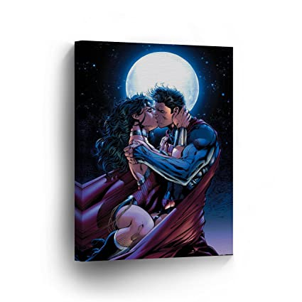 SUPERMAN and Wonder Woman Wall Art Canvas Print Kissing Home Décor Super Hero Wall Decoration Artwork  sc 1 st  Amazon.com & Amazon.com: SUPERMAN and Wonder Woman Wall Art Canvas Print Kissing ...