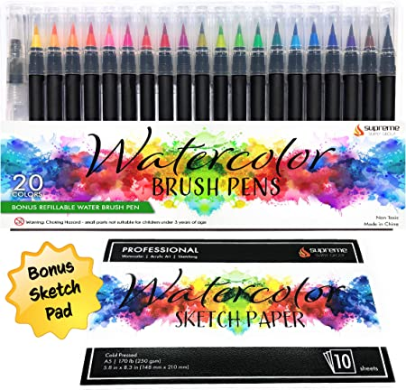 Amazon Com Watercolor Brush Pens Set 20 Color Markers Bonus Sketch Pad Refillable Water Pen Soft Tip For Art Drawing Coloring Page Calligraphy Sketching And Paint Effects Non Toxic Water Based