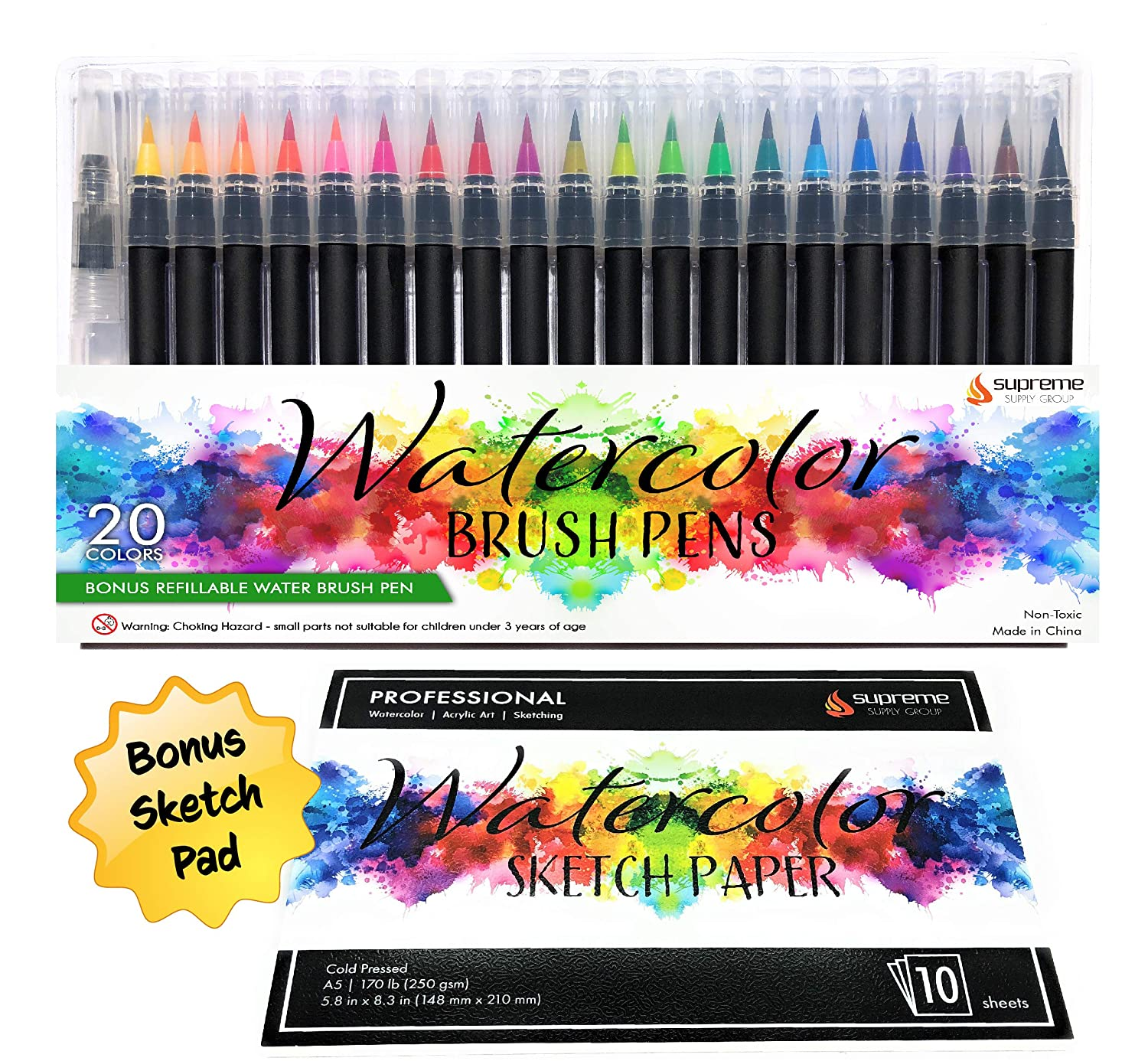 Watercolor Brush Pens Set, 20 Color Markers + 1 Bonus Refillable Water Brush Pen, Soft Tip for Art, Drawing, Coloring Page, Calligraphy, Sketching and Paint Effects, Portable Non-Toxic, Water Based Supreme Supply Group