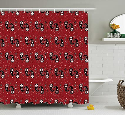 Ambesonne Red And Black Shower Curtain Asian Ethnic Paisley Design With Dots Flowers Leaves Mandala
