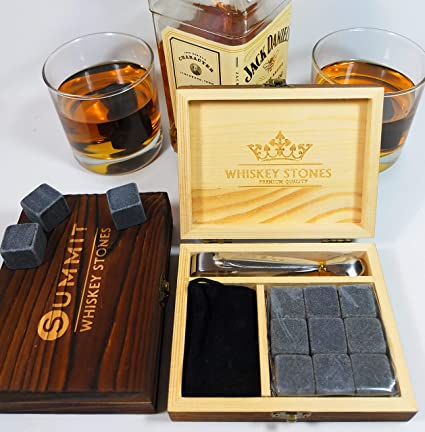 Set Of 9 Whiskey Stones Granite Chilling Rocks With Velvet Bag And Wooden Box Bar Tools & Accessories