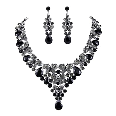 TENYE Women's Rhinestone Crystal Enamel Butterfly Teardrop Necklace Earrings Set r6GCmAcJ