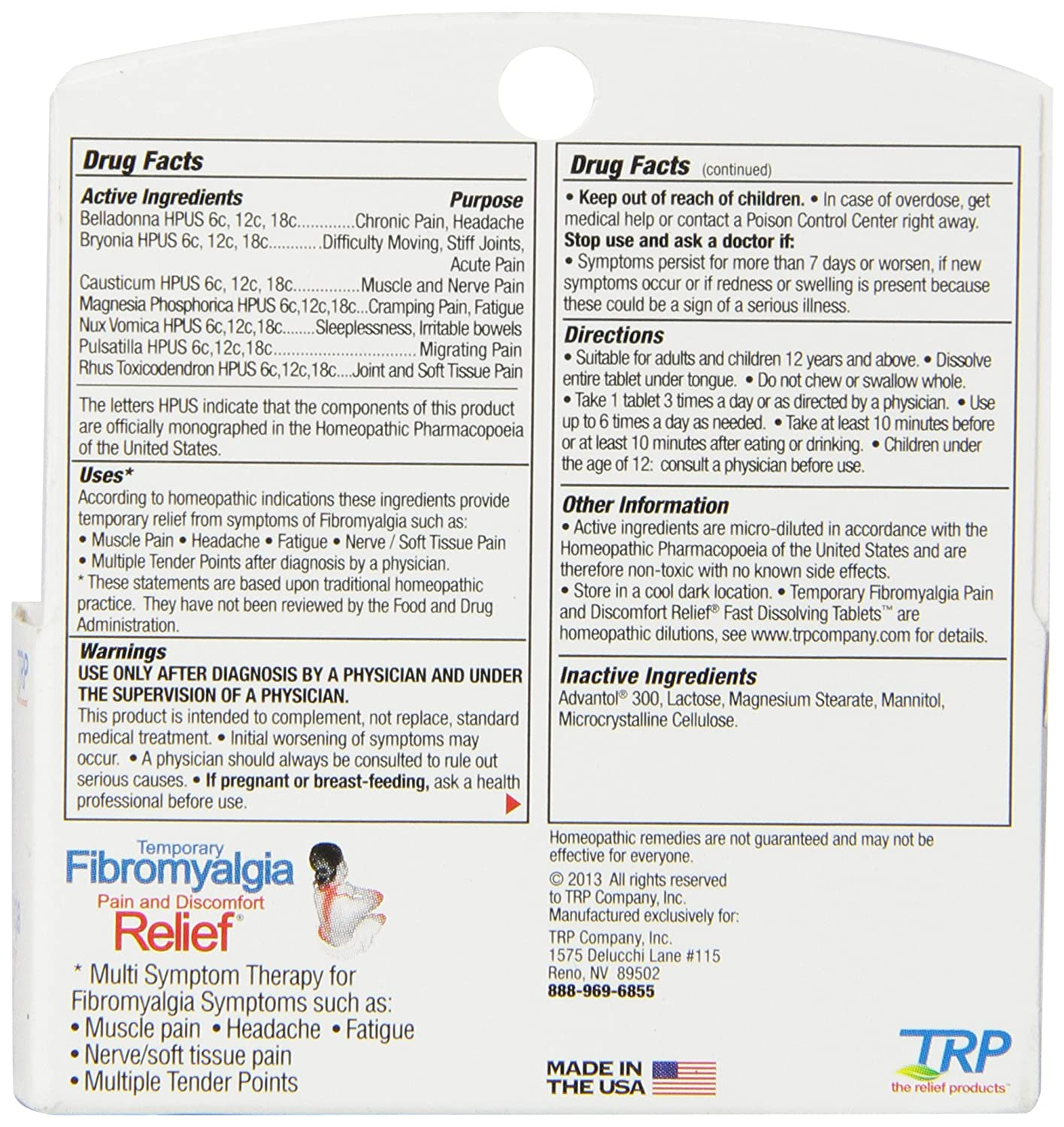 The Relief Products Fibromyalgia Fast Dissolving Tablets, 70 Count: Amazon.es: Salud y cuidado personal