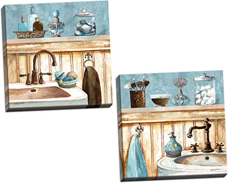 Amazon Com Gango Home Decor Powder Blue Bathroom Still Life Scenes Two 12x12in Stretched Canvases Ready To Hang Posters Prints