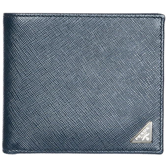 Prada cartera billetera bifold de hombre en piel nuevo blu: Amazon.es: Ropa y accesorios