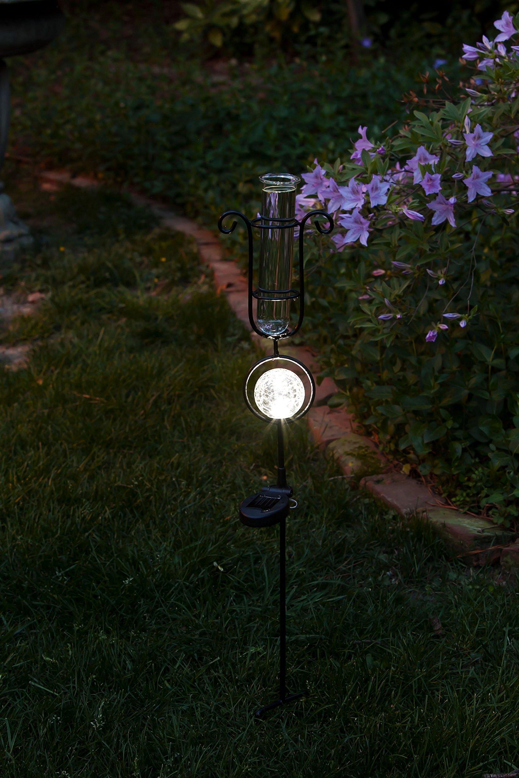 Evergreen Garden Metal and Glass Rain Gauge with Solar Powered Light - 6'' W x 5.5'' D x 33.5'' H