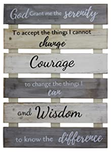 Vintage Rustic Farmhouse Wall Home Decor Sign for Kitchen, Living Room, Dining Room, Bedroom or Bathroom – Serenity Prayer Wood Pallet Skid Barnwood Color Decorative Wall Plaque