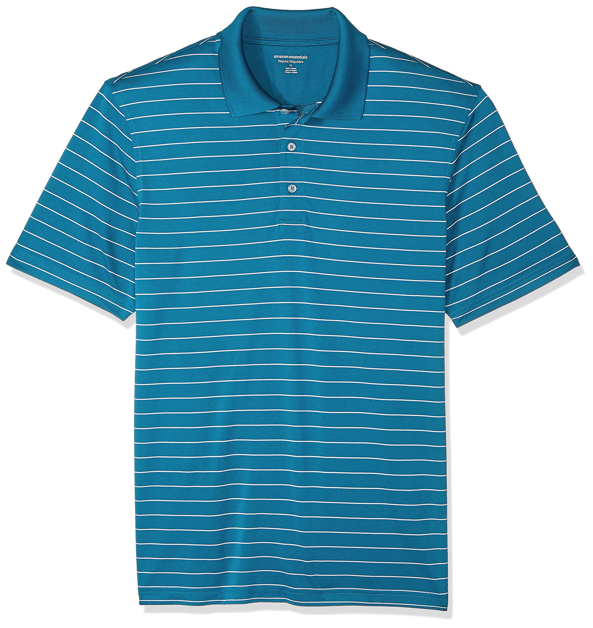 Amazon Essentials Men's Regular-Fit Quick-Dry Golf Polo Shirt, Dark Teal Stripe, X-Small