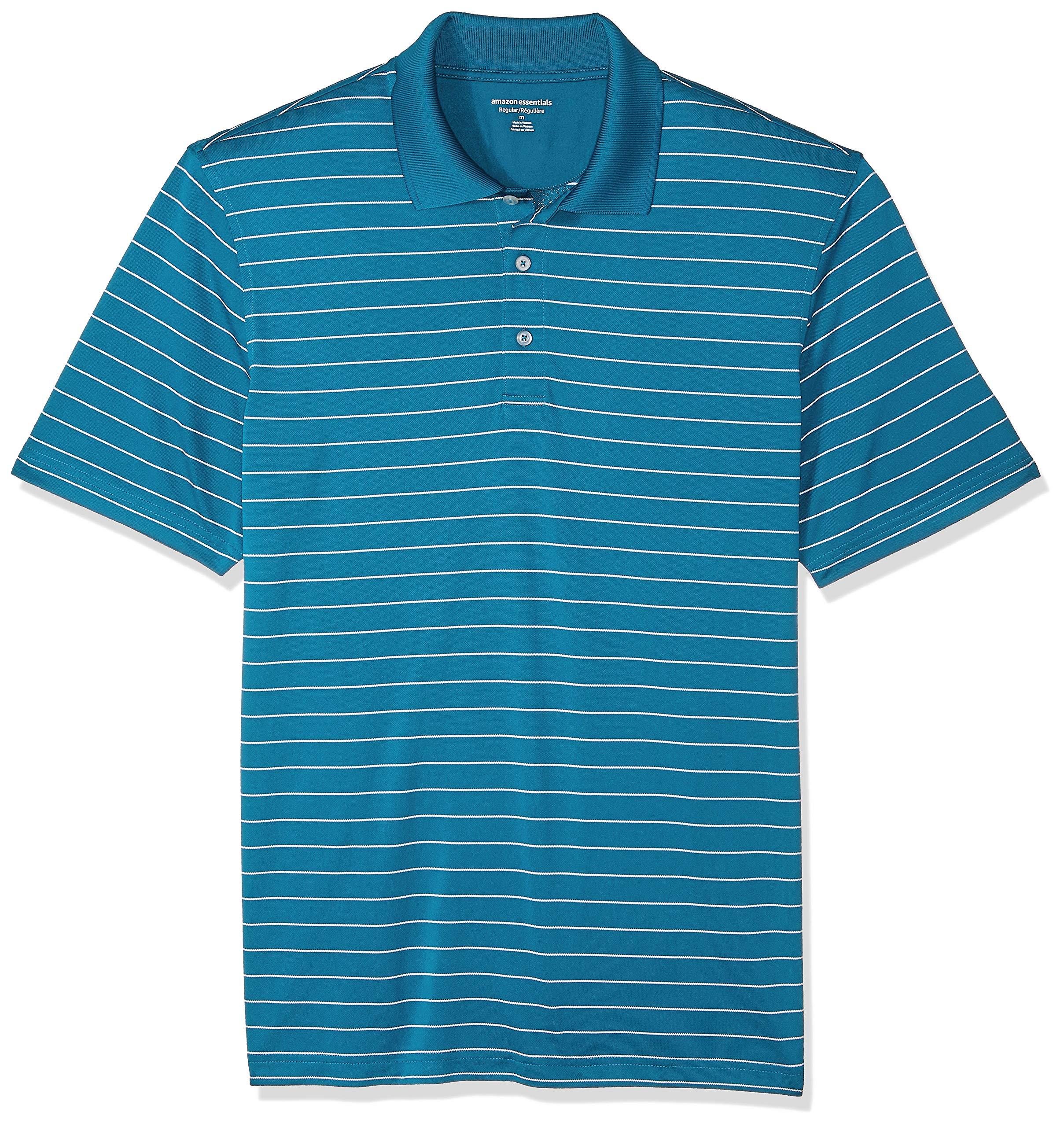 Amazon Essentials Men's Regular-Fit Quick-Dry Golf Polo Shirt, Dark Teal Stripe, X-Small