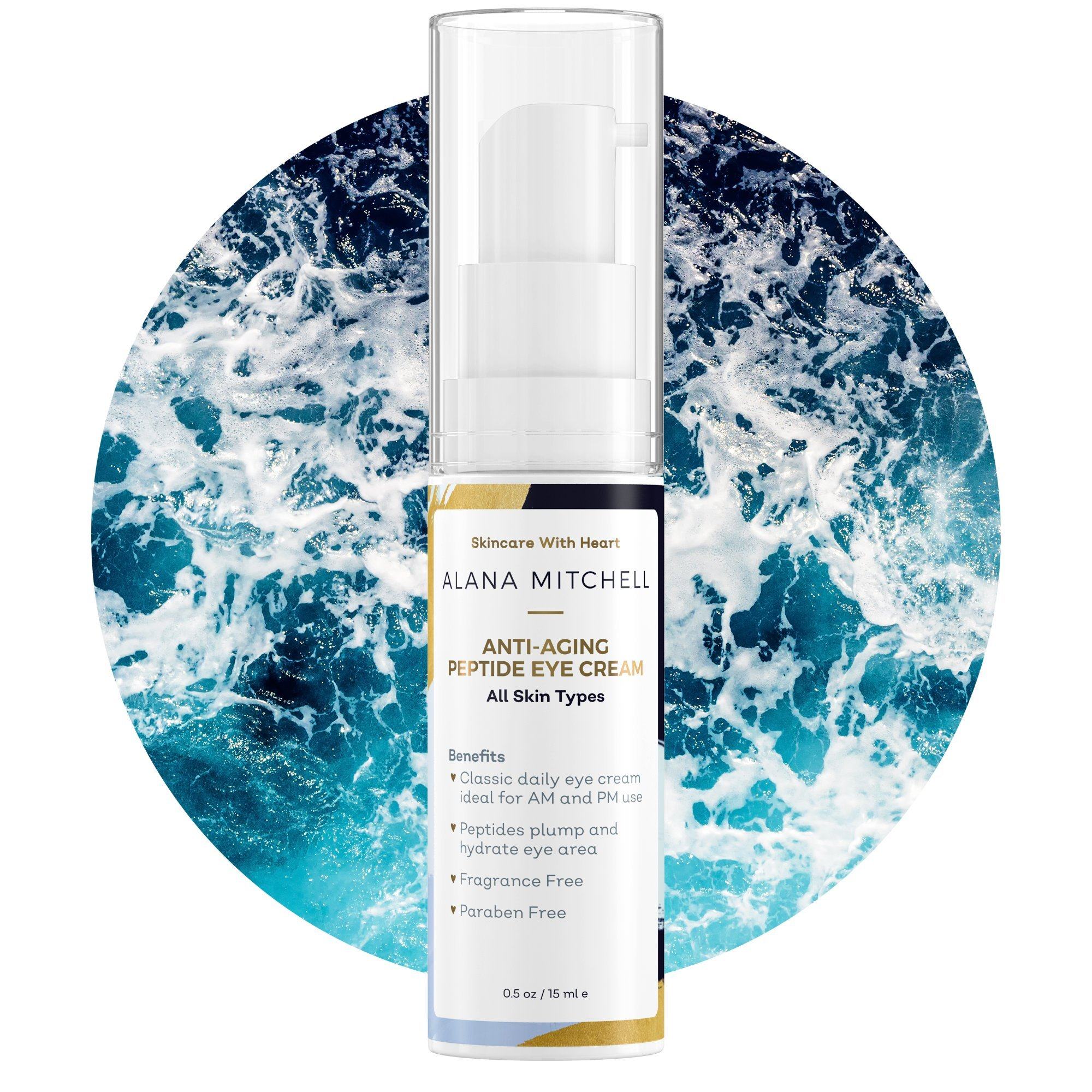 Anti-Aging Firming Peptide Eye Cream By Alana Mitchell - Look Younger, Reduce Wrinkles, Diminish Fine Lines & Erase Crow's Feet - Deep Hydration & Nourishing - For Day & Night Use - Non Greasy .5oz