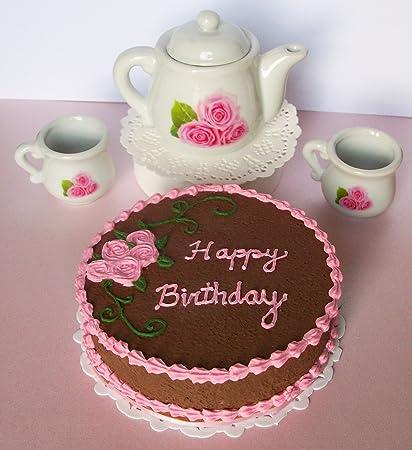 Astonishing Amazon Com Happy Birthday Chocolate Cake Pink Roses Ceramic Tea Funny Birthday Cards Online Fluifree Goldxyz