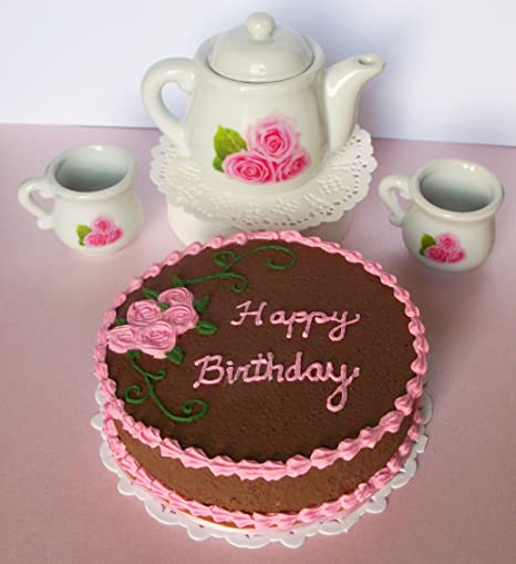 Happy Birthday Chocolate Cake Pink Roses Ceramic Tea Set Pitcher 2 Cups For 14 Inch