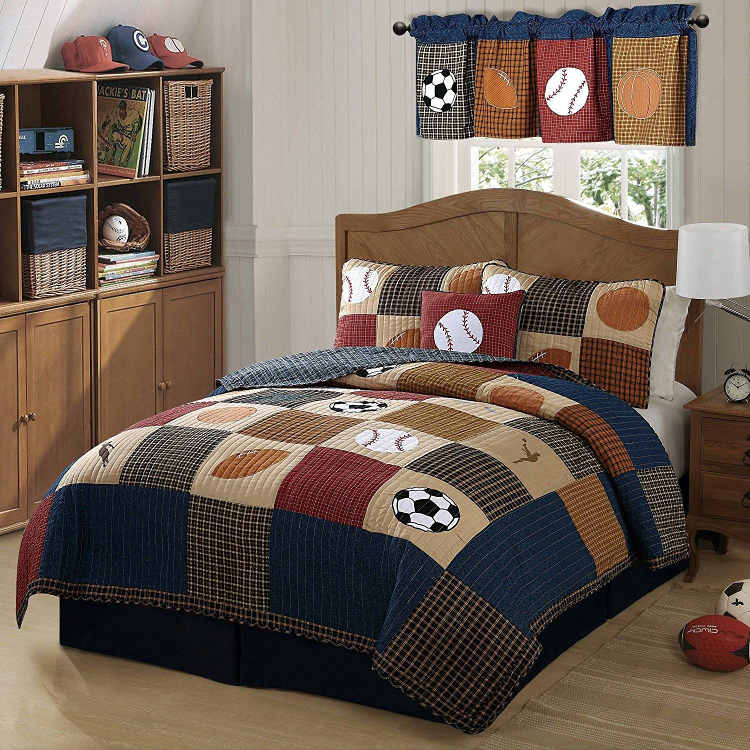 3pc Boys Tan Navy Red Brown Royal Blue Grey Full Queen Quilt Set, Sports Themed Bedding Patchwork Plaid Beige Basketball Soccer Football Baseball Stylish Fun Colorful Bold Athlete, Cotton