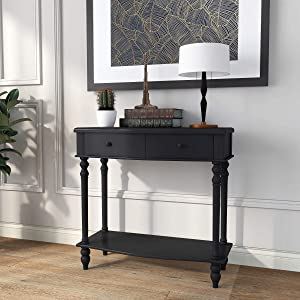 COZAYH Console Sofa Table, Traditional Modern Farmhouse Style w/French Turned Legs (Black)