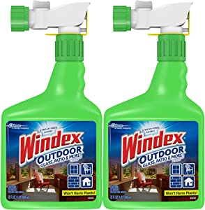 Windex Outdoor Window, Glass, & Patio Cleaner with Hose Attachment, 32 fl oz - Pack of 2