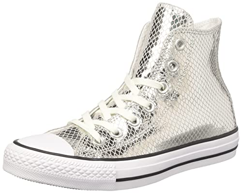 4ad2edca4fb Converse Chuck Taylor All Star High Top Women s Shoes Silver Black White  555965c (