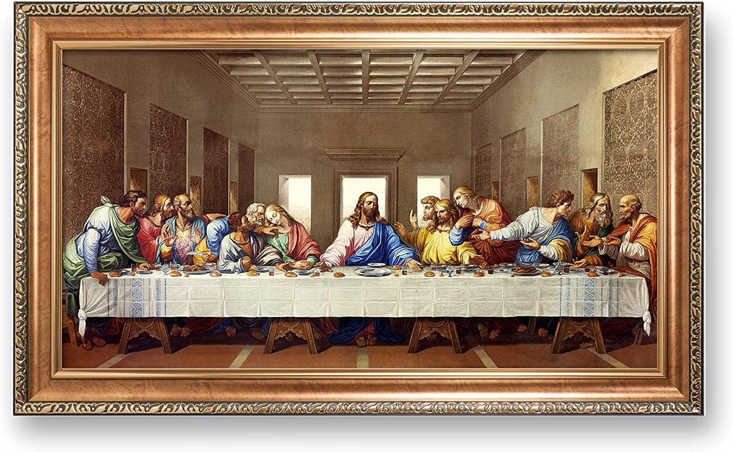 The Last Supper by Da Vinci The World Classic Art Reproductions,Giclee Prints Framed WallArt for Home Decor,Image Size:30x16 inches,Italy Style Luxurious Gold Embossing Framed Size:34.5x20.5 inchs