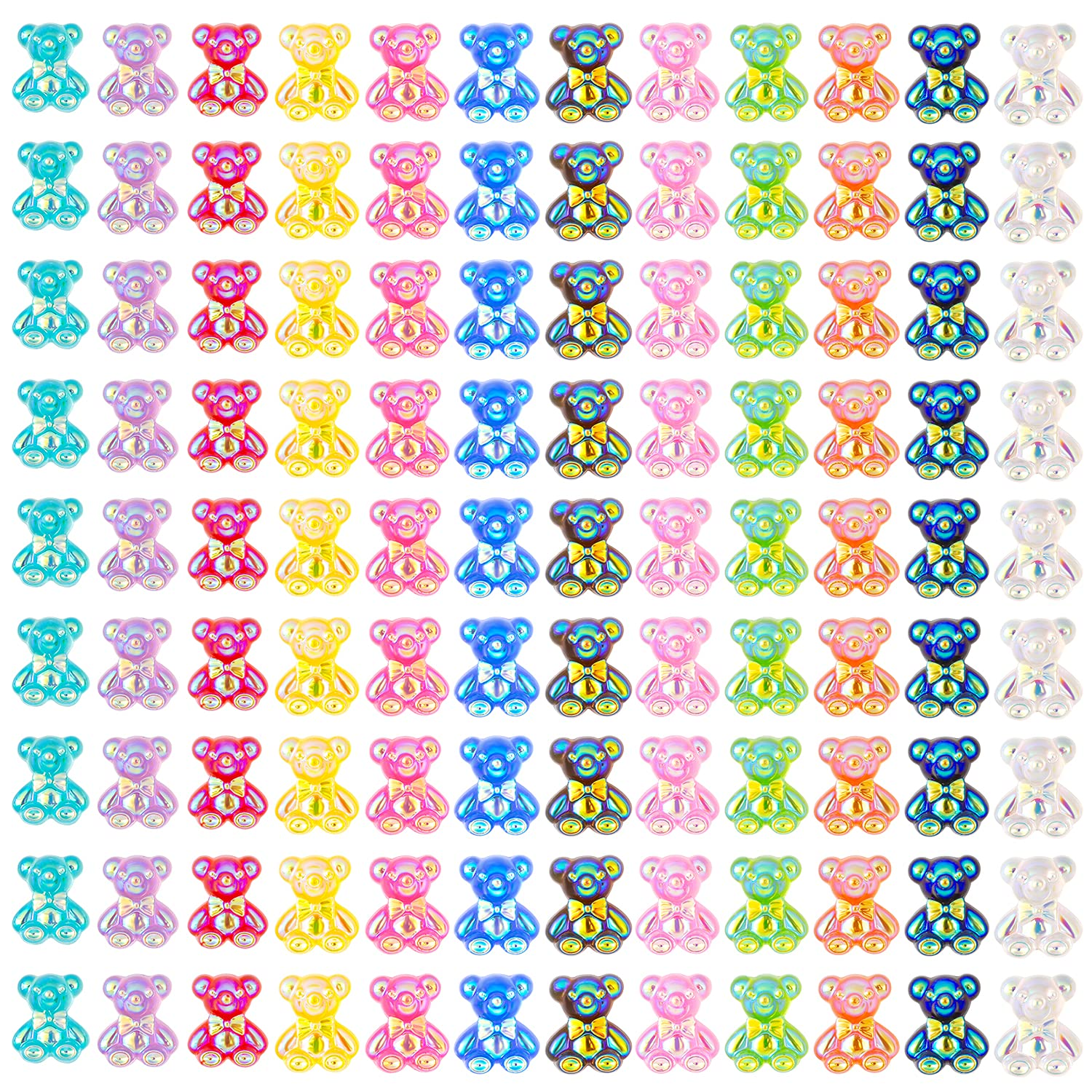 3D Cute Mini Bear Resin Nail Art Decorations, Crystal Bear Shaped Nail Charms Art Accessories, 12 Color Nails Glitter Jelly Ornaments Design Manicure Tips Decor 60pcs Small