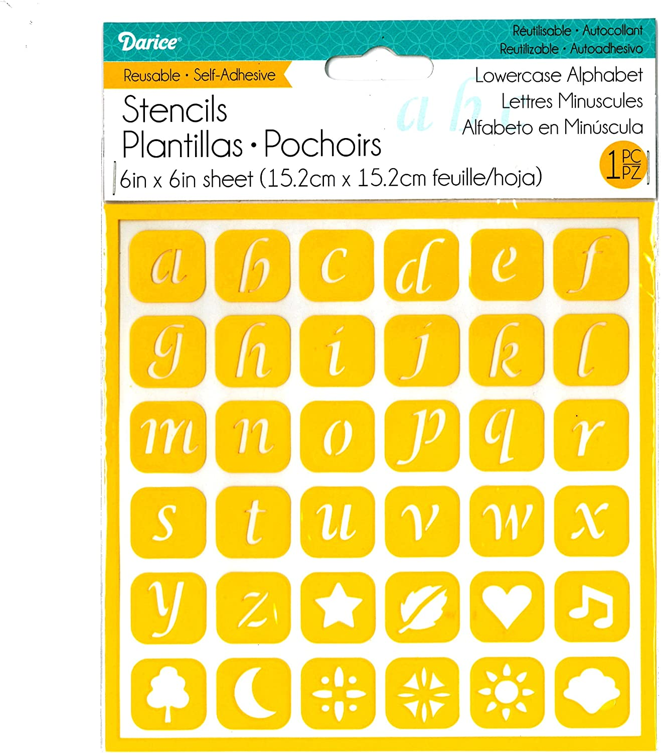 Darice 6 by 6 Self Adhesive Stencil Uppercase Alphabet