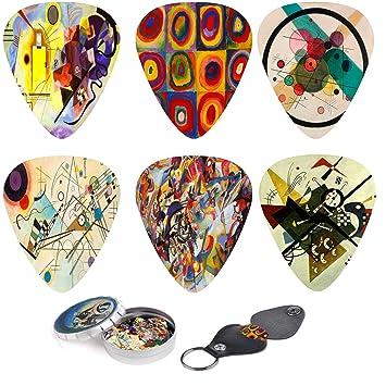Juego de púas para guitarra de arte abstracto – Cuadros de Kandinsky – 12 púas de guitarra personalizadas con caja para guardar púas y llavero ...