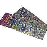 Striscione per 50° compleanno, in lingua inglese, confezione da 3 pezzi