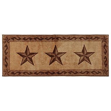 HiEnd Accents Western Star Kitchen and Bath Rug, 24 x60, Chocolate