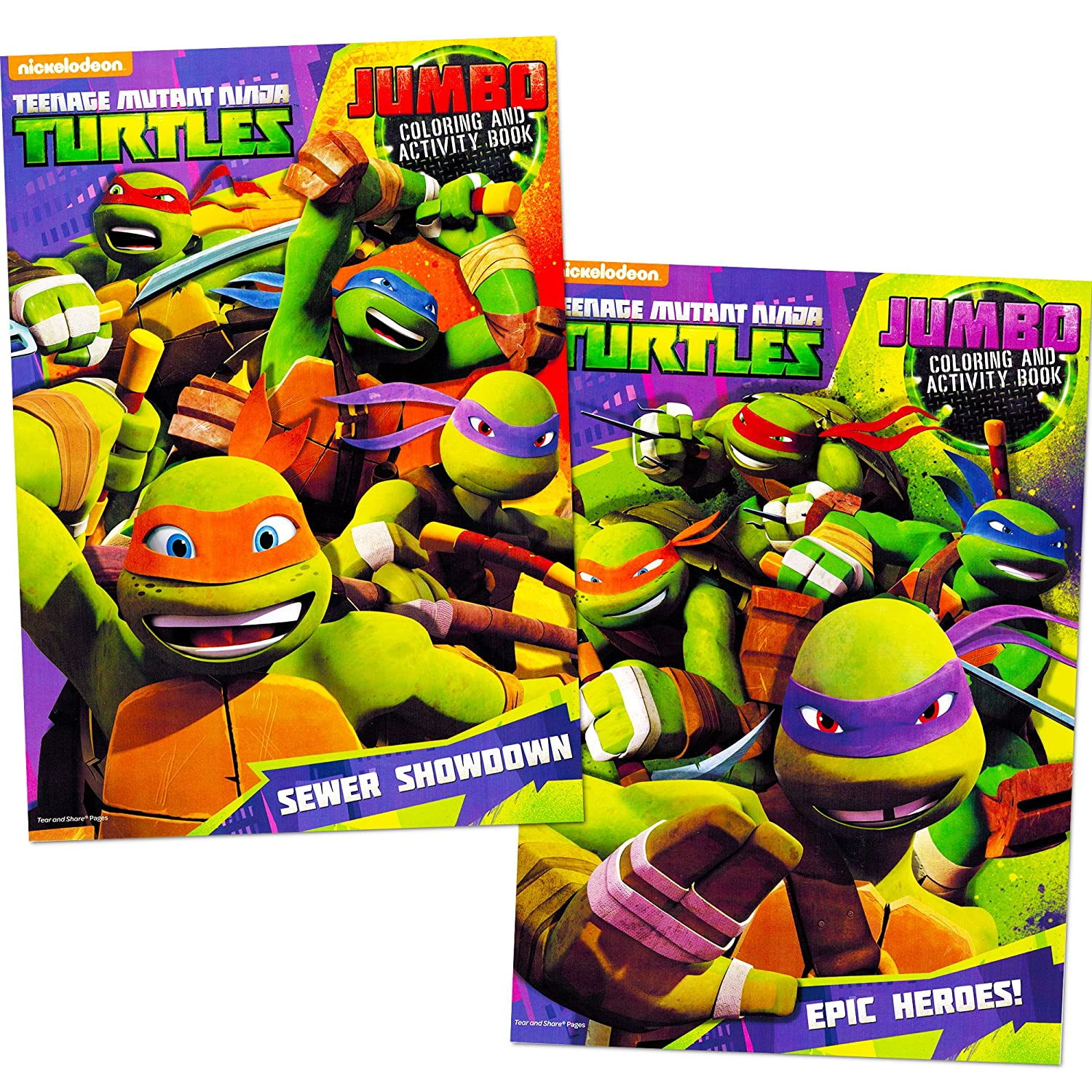 Amazon.com: Teenage Mutant Ninja Turtles Coloring Book Set (2 TMNT ...
