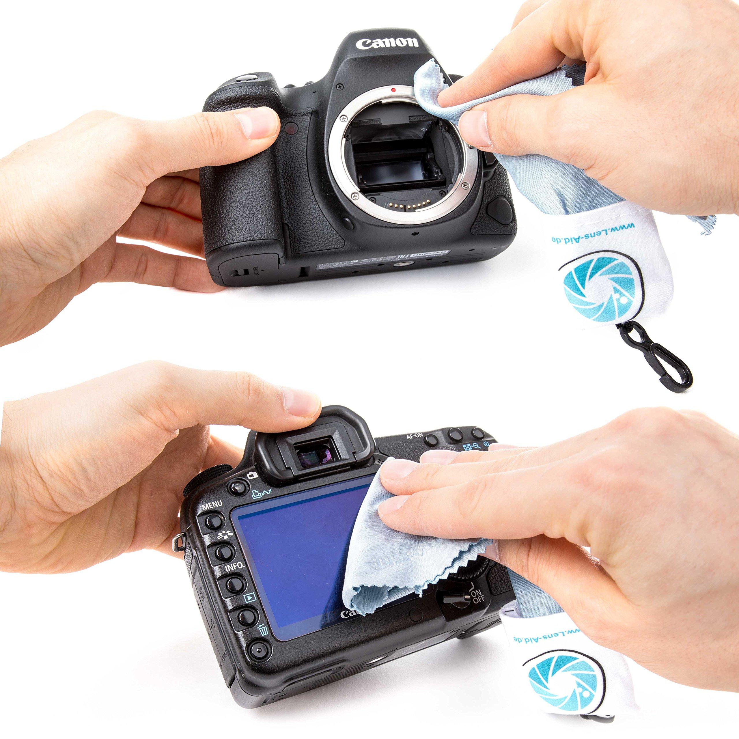 Mikrofaser Reinigungstuch mit Aufbewahrungsbeutel und Karabiner von Lens-Aid: Für Kamera, Objektiv, Display, Notebook, Smartphone und als Brillen-Putztuch zur Reinigung (1x Mikrofasertuch)