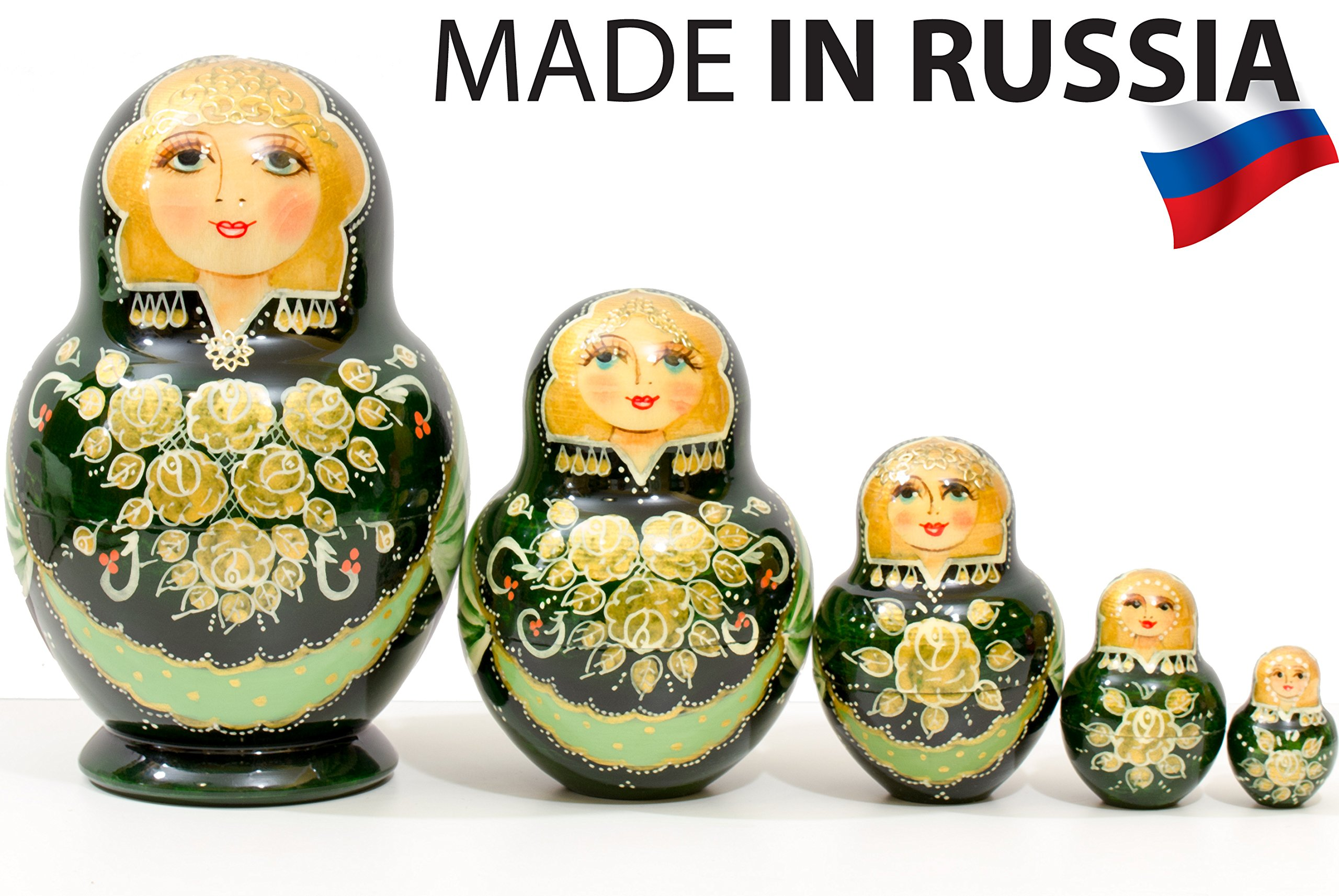 Russian Nesting Doll - Anastasia - Hand Painted in Russia - Traditional Matryoshka Babushka (6``(5 Dolls in 1), Green) by craftsfromrussia (Image #5)