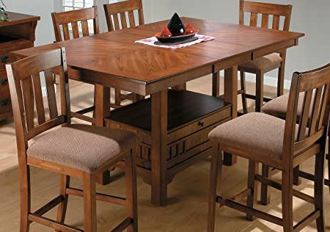 Jofran 477 72 Saddle Brown Oak Rectangular Counter Height Table W/ Leaf