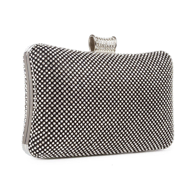 8d062c13e Kisschic Crystal Evening Bags Rhinestone Black Clutch Bag Purse for Women:  Amazon.co.uk: Shoes & Bags
