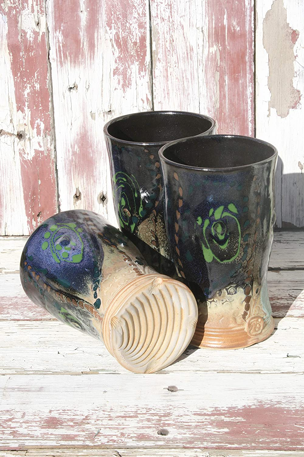 Handmade Tumblers Finely Crafted Cocktail Cups One Unique Black to Gold Ceramic Glass #15 Wheel Thrown Pottery Glasses
