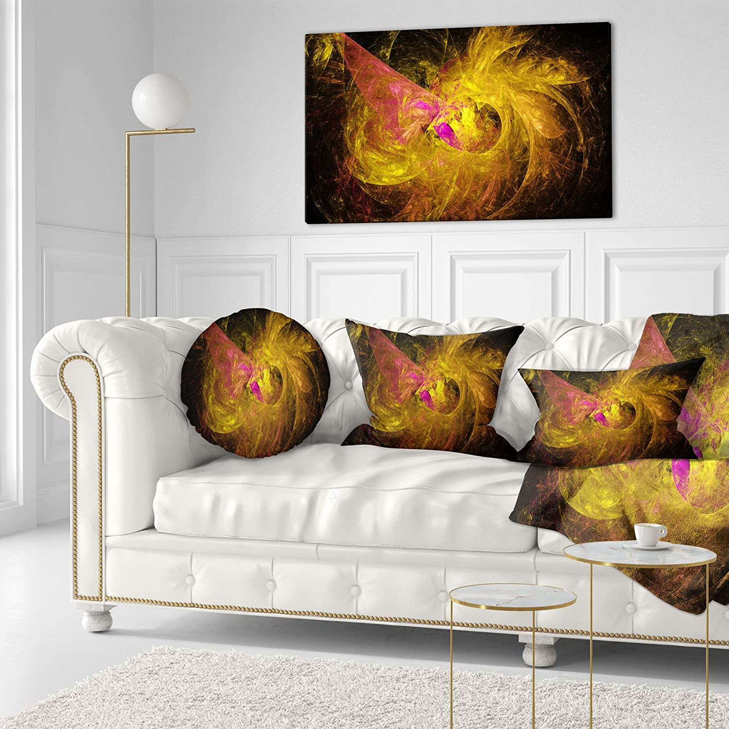 Insert Printed On Both Side Designart CU15927-20-20-C Golden Fractal Illustration Abstract Round Cushion Cover for Living Room Sofa Throw Pillow 20
