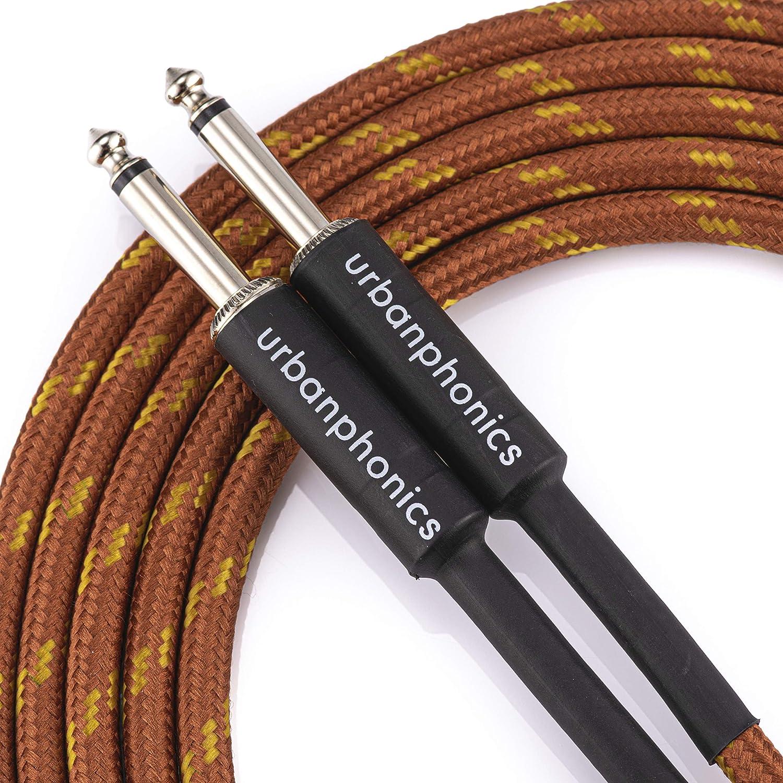Urbanphonics Cable Profesional Calidad para Guitarra Eléctrica, Electroacústica, Bajo, y Teclados - Deluxe Trenzado Tweed - Color Cobre - Estándar 1/4 Jack a Jack - 10 pies (3m) - Garantizado