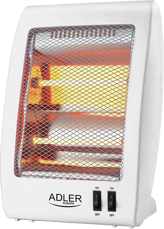 Adler AS7709 Estufa de Cuarzo radiador halogeno, plastico, Blanco, 59.5 x 37 x 28.5 cm