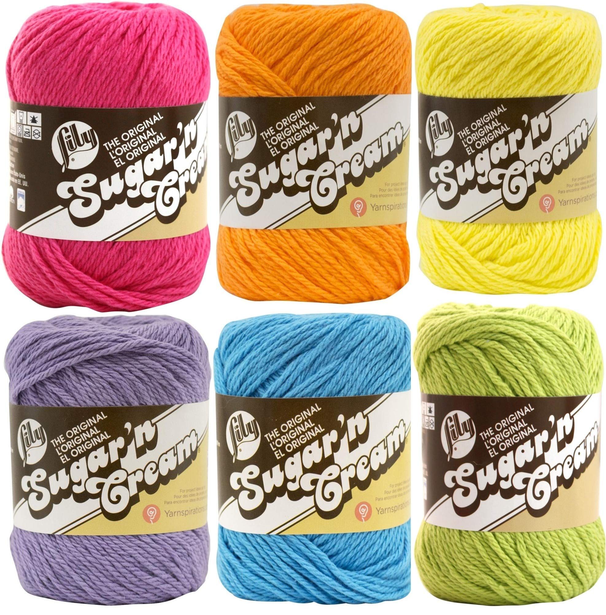 Lily Sugar n' Cream Solid Variety Assortment 6 Pack Bundle 100 Percent Cotton Medium 4 Worsted (Multicolor) by Lily (Image #1)