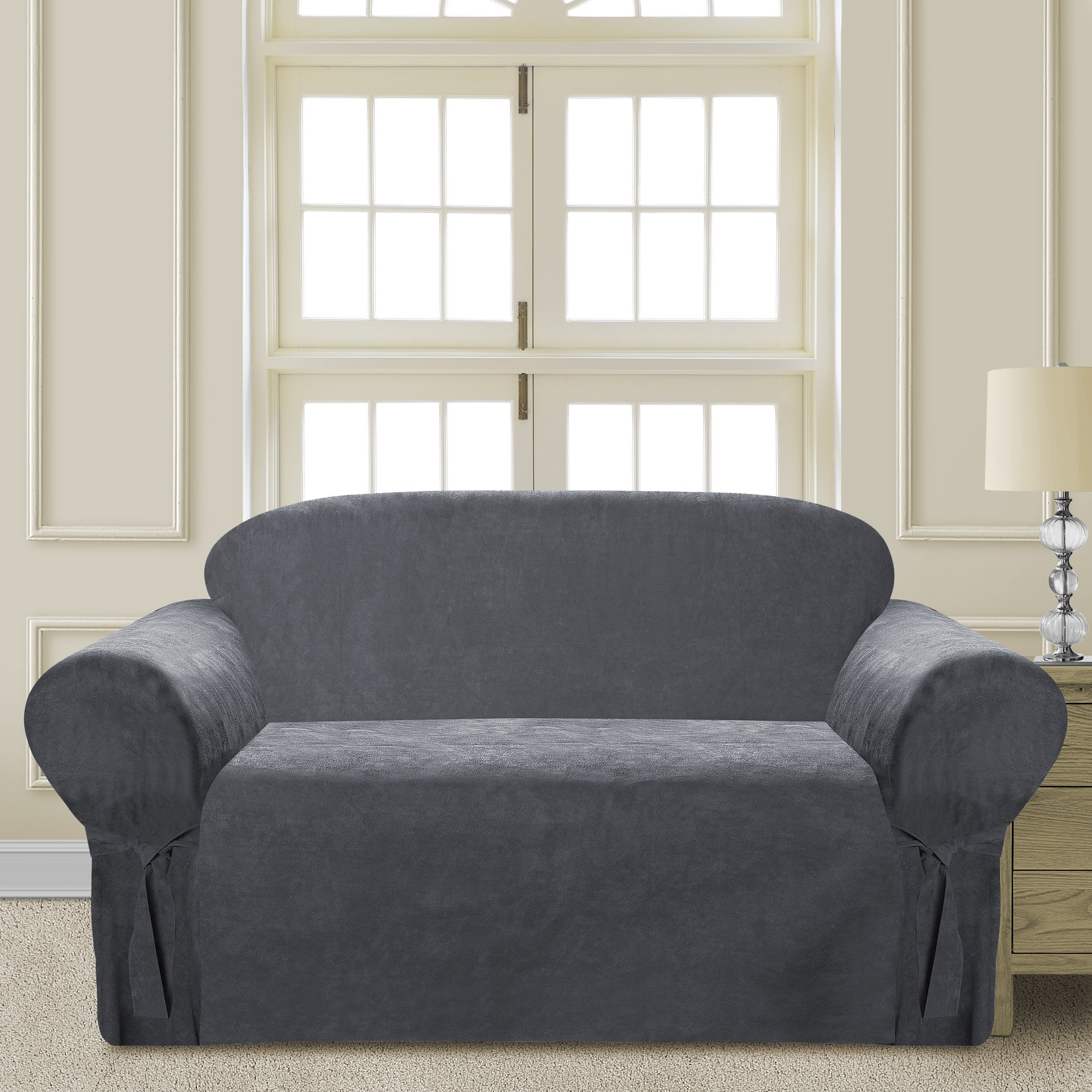 Comfy Bedding Microsuede Sofa Furniture Slipcover with Elastic Straps under Seat Cushion (Gray, Loveseat)