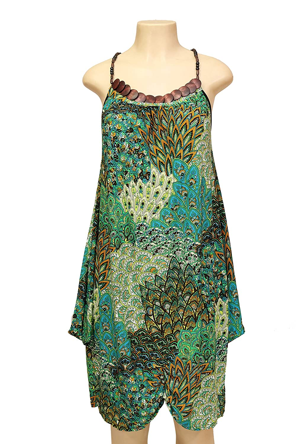 Nisa Women Peacock Design Spaghetti Strip Tank Top Embellish with Wooden Beads Around The Neck and Halter Strips ID D8030(SM)